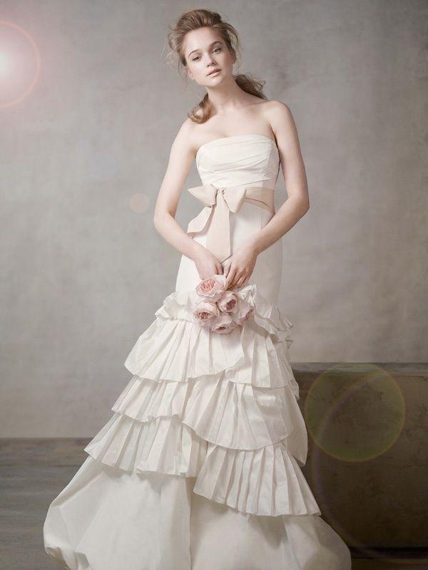 white by vera wang wedding dress  sash   full