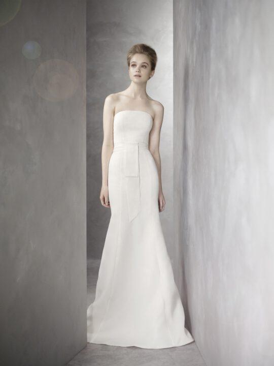 white by vera wang wedding dress  bridal gowns vw mermaid strapless