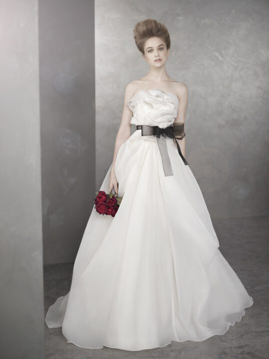 white by vera wang wedding dresses spring  bridal gown romantic a line blacl sash